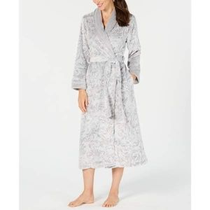 Charter Club Short Textured Robe SMALL Grey Roses